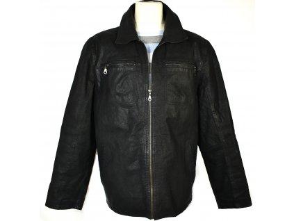 KOŽENÁ pánská černá zateplená bunda na zip Reward XL