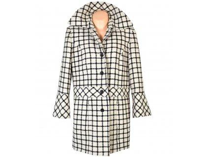 Vlněný (100%) dámský černobílý kabát 44