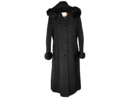 Vlněný dámský šedočerný zateplený dlouhý kabát Janmar 46
