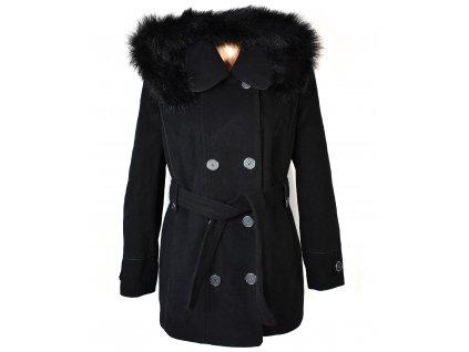 Vlněný (70%) dámský černý zateplený kabát s páskem a kapucí Gabriella (vlna, kašmír) 44