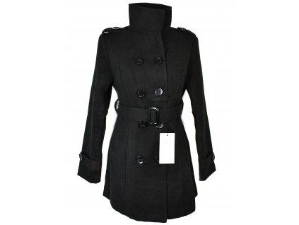 Dámský černý zateplený kabát s páskem Pari Line L - s cedulkou