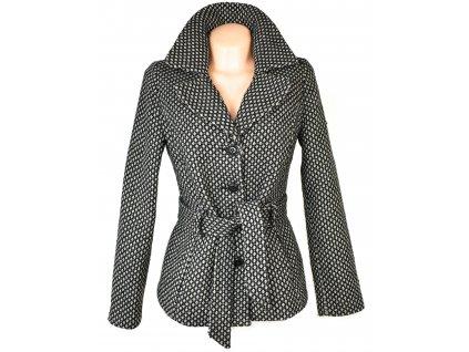 Vlněný (48%) dámský šedočerný kabát s páskem PROMISS M