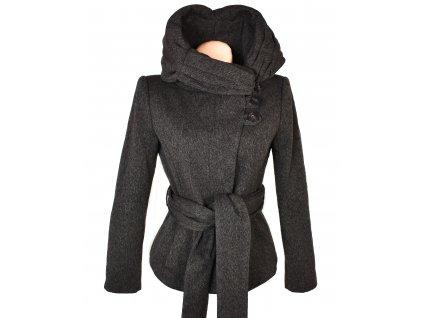 Vlněný (40%) dámský hnědý kabát s páskem ZARA M