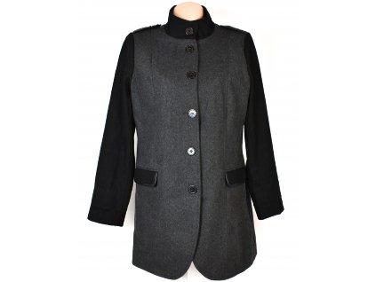 Vlněný (36%) dámský šedočerný kabát Store 21 XL
