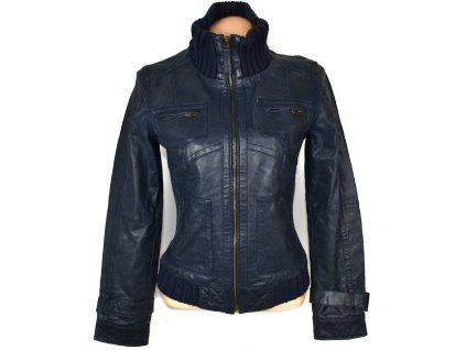 KOŽENÁ dámská modrá bunda na zip ICHI S/M