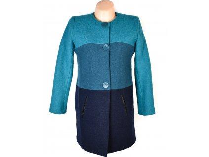 Vlněný (100%) dámský tyrkysový pruhovaný kabát Paul Brial S