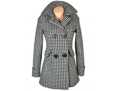 Vlněný dámský černobílý zateplený kabát - kohoutí stopa 34