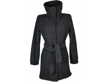 Vlněný dámský šedočerný kabát s páskem M