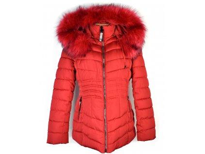 Dámský zimní prošívaný červený kabát s kapucí Black&Fish XL