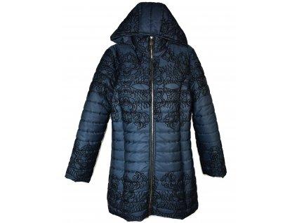 Dámský modrý prošívaný kabát s kapucí Miss Forever XXL