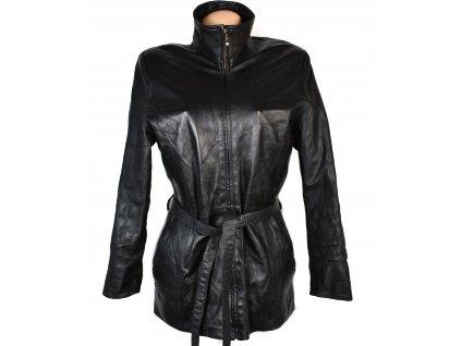 KOŽENÝ dámský černý měkký kabát s páskem CABRINI XL/XXL