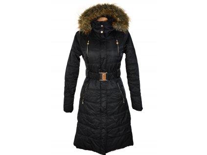 Dámský černý dlouhý prošívaný kabát s páskem a kapucí Glo Story S