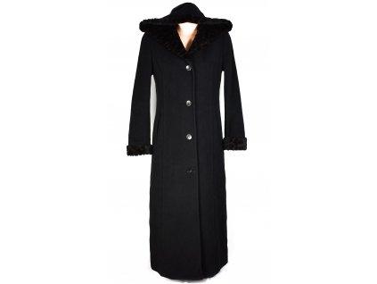 Vlněný (70%) dámský dlouhý černý kabát s kapucí 40