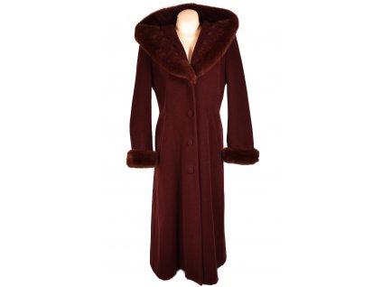 Vlněný (75%) dámský dlouhý vínový kabát s kapucí (vlna, kašmír) XXL