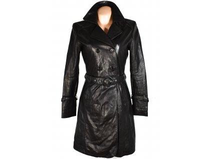 KOŽENÝ dámský hnědý měkký kabát s páskem Coctail M