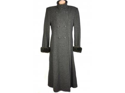 Vlněný (70%) dámský dlouhý šedý kabát MODA MARLENE (vlna, kašmír) 44-46