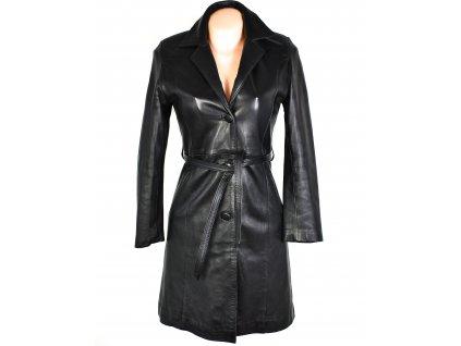KOŽENÝ dámský černý měkký kabát s páskem REDSKINS S