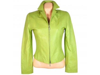 KOŽENÁ dámská limetková měkká bunda na zip SCUSI XS/S