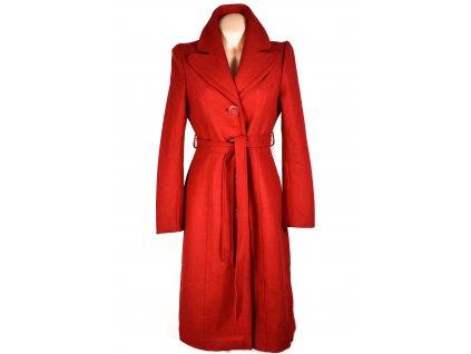 Vlněný (60%) dámský červený kabát s páskem FEVER LONDON S