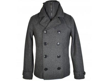 Vlněný (57%) pánský šedý kabát H&M S