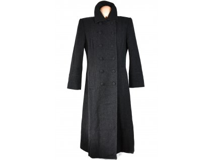 Vlněný (70%) dámský dlouhý šedý kabát 14/40