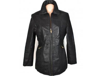 KOŽENÝ dámský hnědý zateplený kabát na zip Kenvelo 38