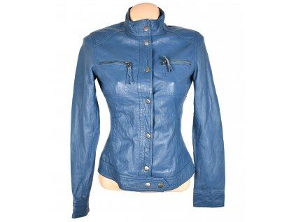KOŽENÁ dámská modrá měkká bunda ORSAY 34