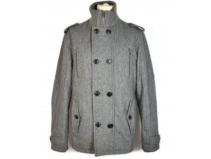 Vlněný (62%) pánský šedý kabát Angelo Litrico L