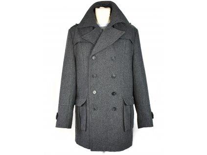 Vlněný pánský šedý kabát XL
