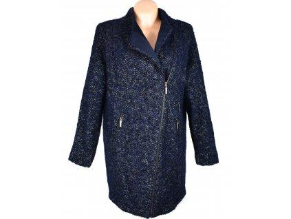 Vlněný (45%) dámský modrý kabát - křivák Marks&Spencer XL
