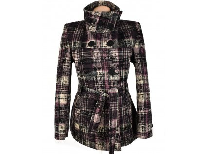 Vlněný dámský barevný kabát s páskem 42