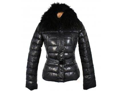 Péřový dámský černý prošívaný kabát s pravým kožíškem Fred Mello S