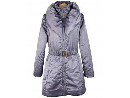 Dámský prošívaný lila kabát s límcem a páskem XL