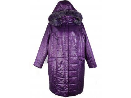 Dámský fialový prošívaný dlouhý kabát UK 24