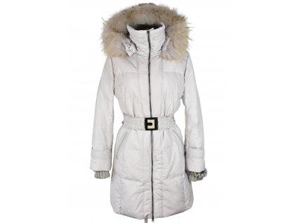Péřový dámský béžový kabát s páskem a kapucí  s pravým kožíškem Luo Luo XL
