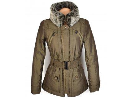 Dámský prošívaný kabát s páskem a kožíškem Orsay 36