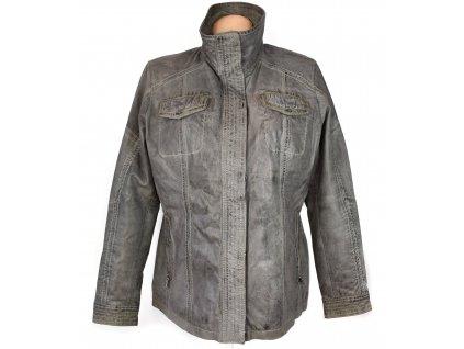 KOŽENÁ dámská šedá měkká zateplená bunda na zip Chevirex 44