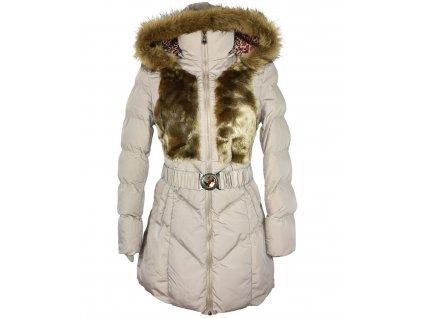 Dámský béžový zimní kabát s páskem a kožíškem Gallop M