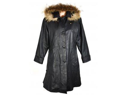 KOŽENÝ dámský černý měkký zimní kabát s kapucí, pravým kožíškem Paris L/XL