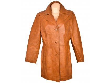 KOŽENÝ dámský oranžový měkký kabát Woodpecker XL