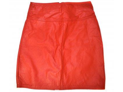 KOŽENÁ dámská červená měkká sukně S
