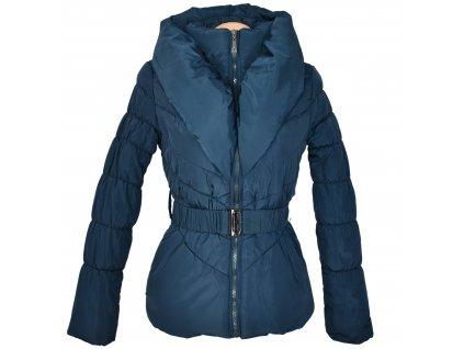 Dámský modrý prošívaný kabát s páskem a límcem Fantasy S