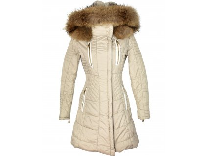 Dámský béžový kabát s kapucí s pravým kožíškem Manebo S