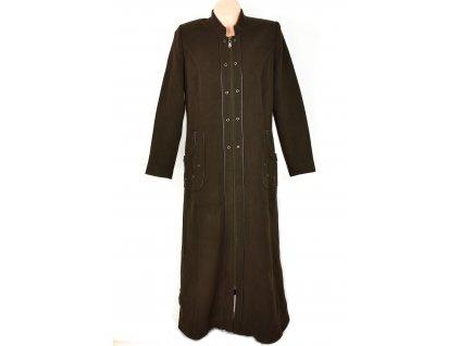 Vlněný dámský dlouhý olivový kabát na zip XL