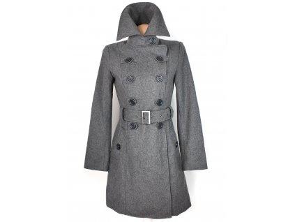 Vlněný (60%) dámský šedý kabát Review S
