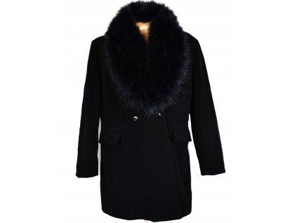 Vlněný (60%) dámský černý kabát s kožíškem Mode (vlna, kašmír) 46