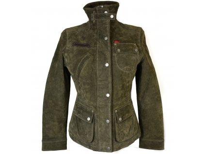 KOŽENÁ dámská khaki zelená semišová bunda s odnimatelnou vložkou HIS S