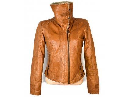 KOŽENÁ dámská hnědá měkká bunda na zip s beránkem S