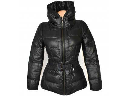 Péřový dámský černý prošívaný kabát s páskem ZARA S