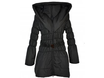 Dámský prošívaný černý kabát s páskem a límcem XL - XXL